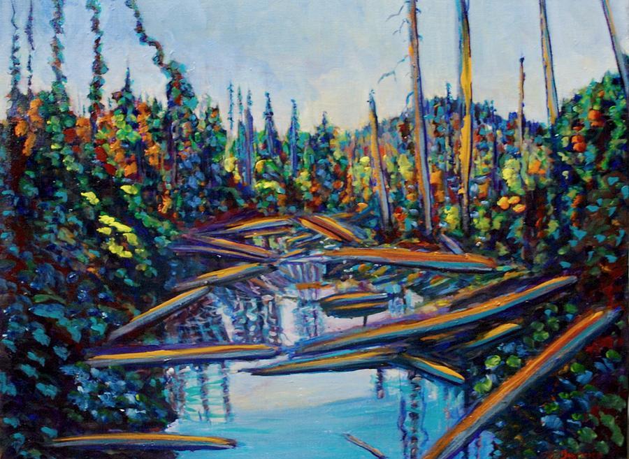 Lake Painting - Wolf Creek Pond Haida Gwaii by Faye Dietrich