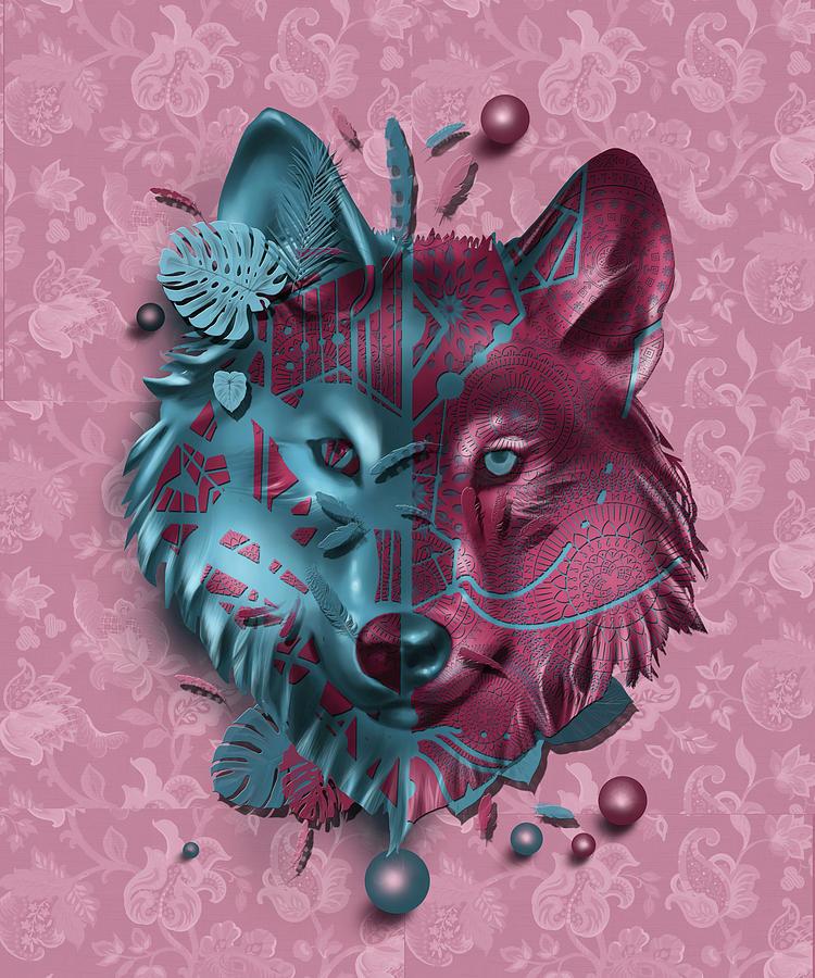 Wolf Decor Red Digital Art