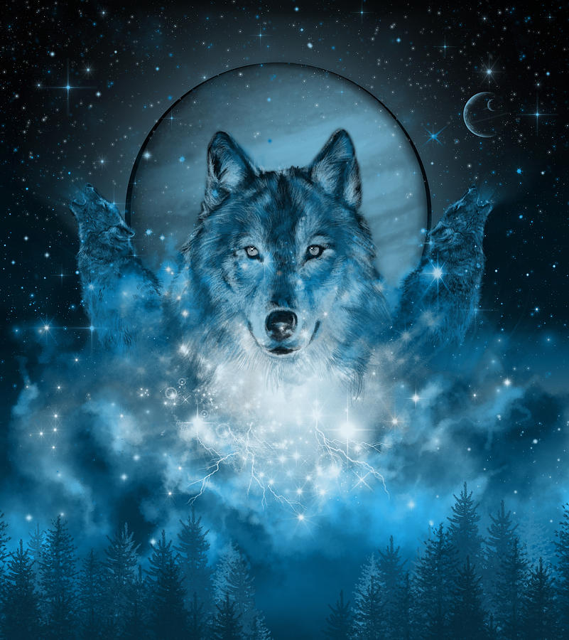 Wolf In Blue Painting