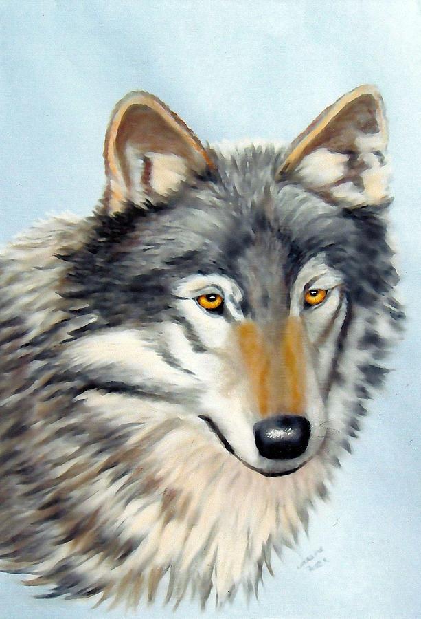 Wolf Pastel - Wolf In Pastels by Lorraine Foster