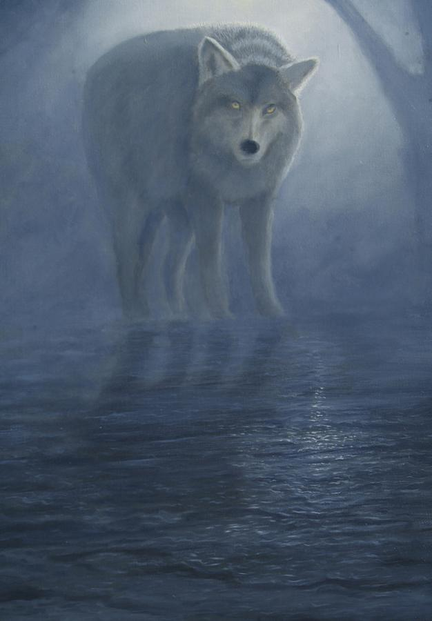Wolves Painting - Wolf In The Mist by Lorraine Foster