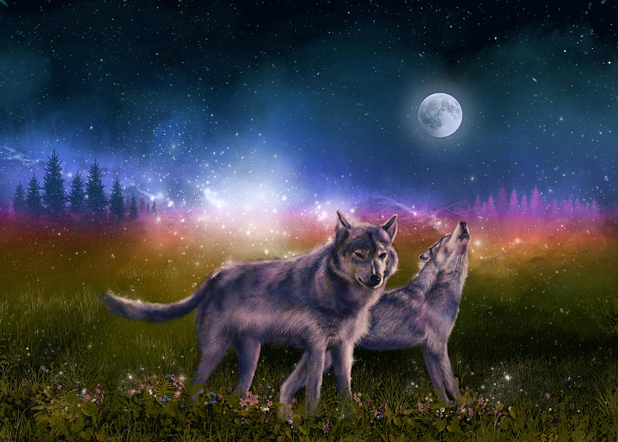 Wolf Painting - Wolf In The Moonlight by Bekim M