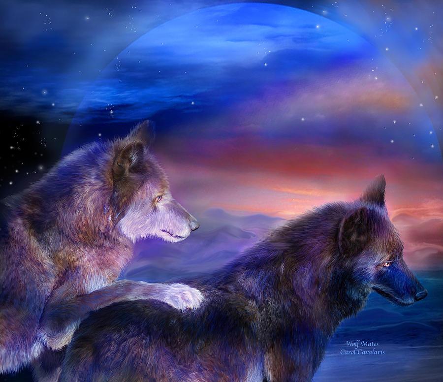 Wolf Mixed Media - Wolf Mates by Carol Cavalaris