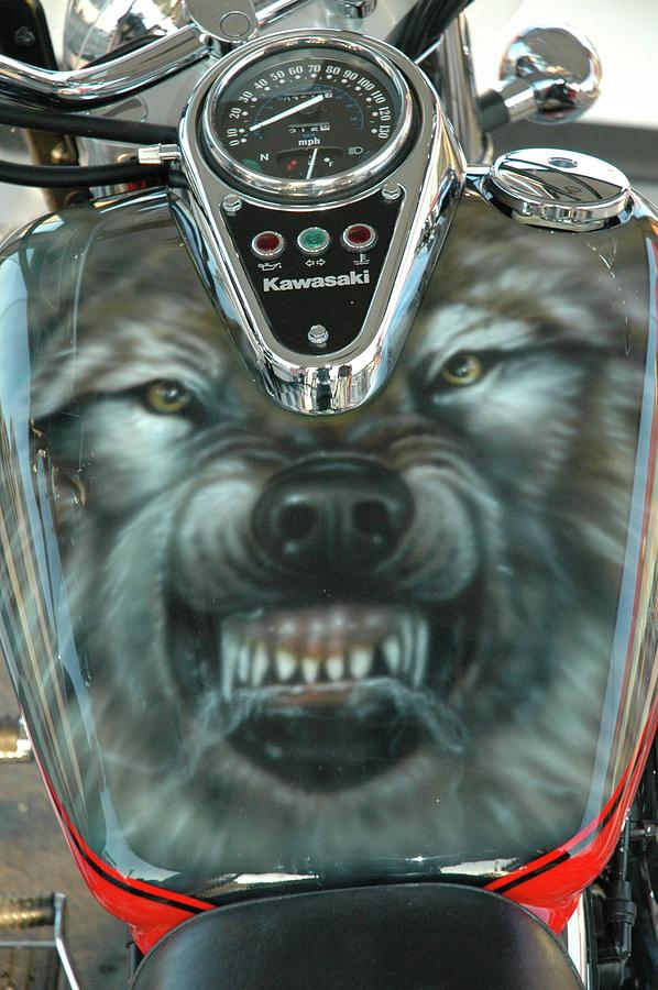 Wolf Motorcycle Gas Tank Painting By Wayne Pruse