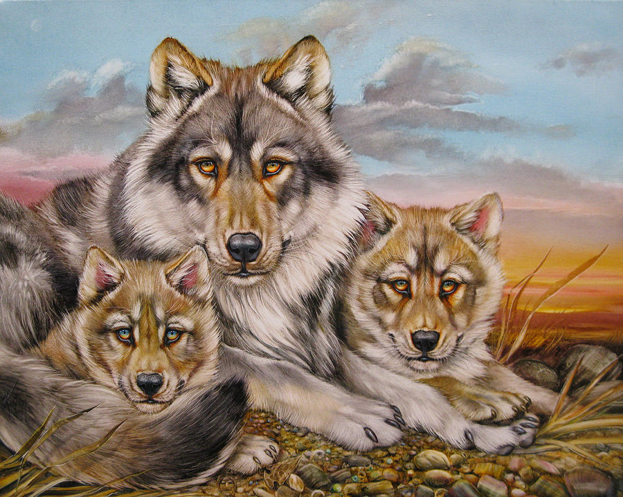 Wolves Painting - Wolf Nap by Martin Katon
