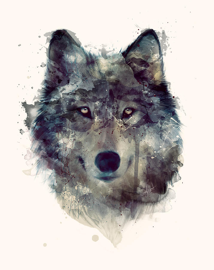 Wolf Painting - Wolf // Persevere by Amy Hamilton