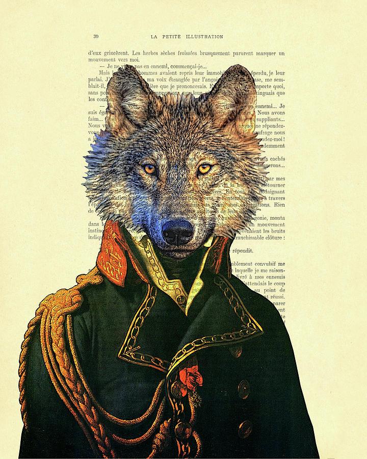 Wolf Digital Art - Wolf portrait illustration by Madame Memento