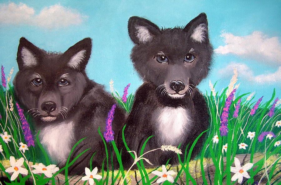 Wolf Painting - Wolf Pups by Nick Gustafson
