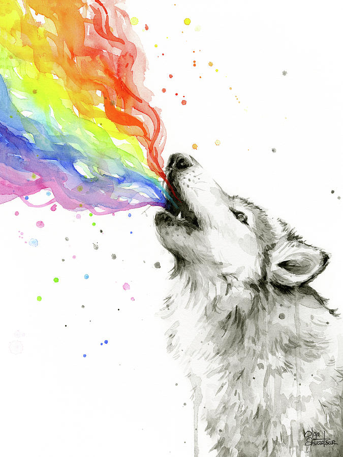Wolf Rainbow Watercolor Painting by Olga Shvartsur