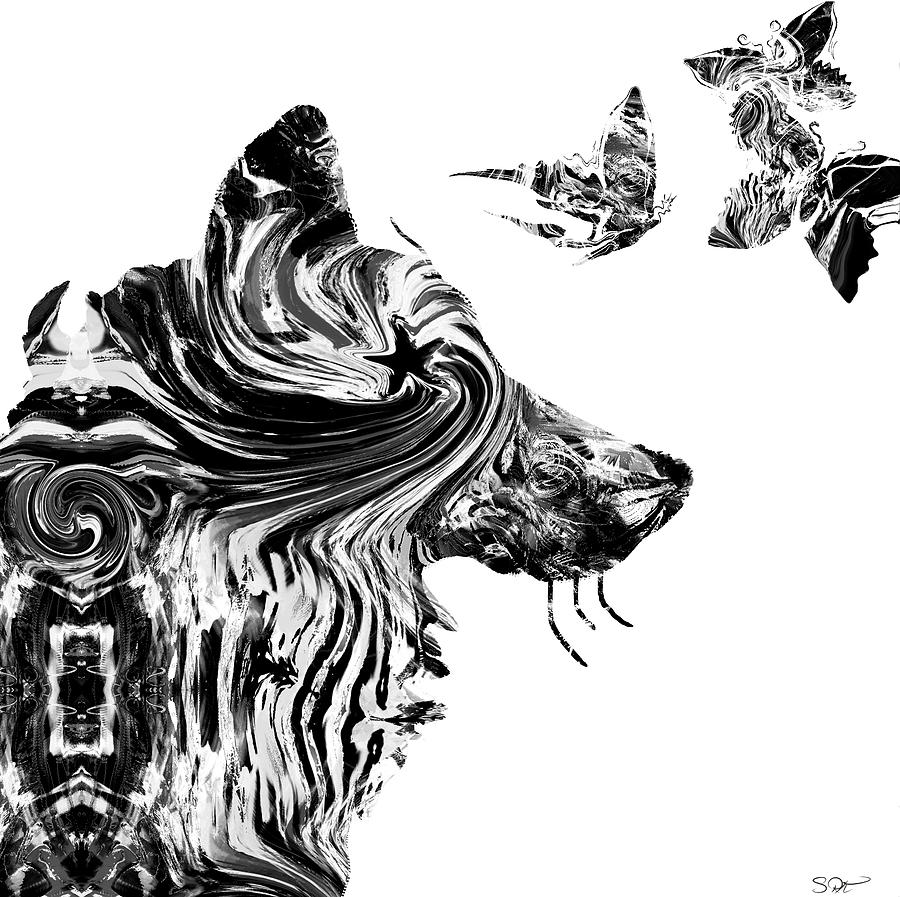 Wolf With Butterflies
