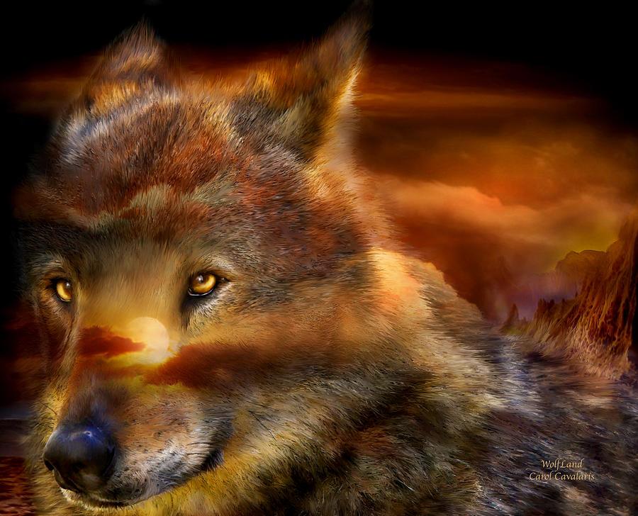 Wolf Mixed Media - Wolfland by Carol Cavalaris