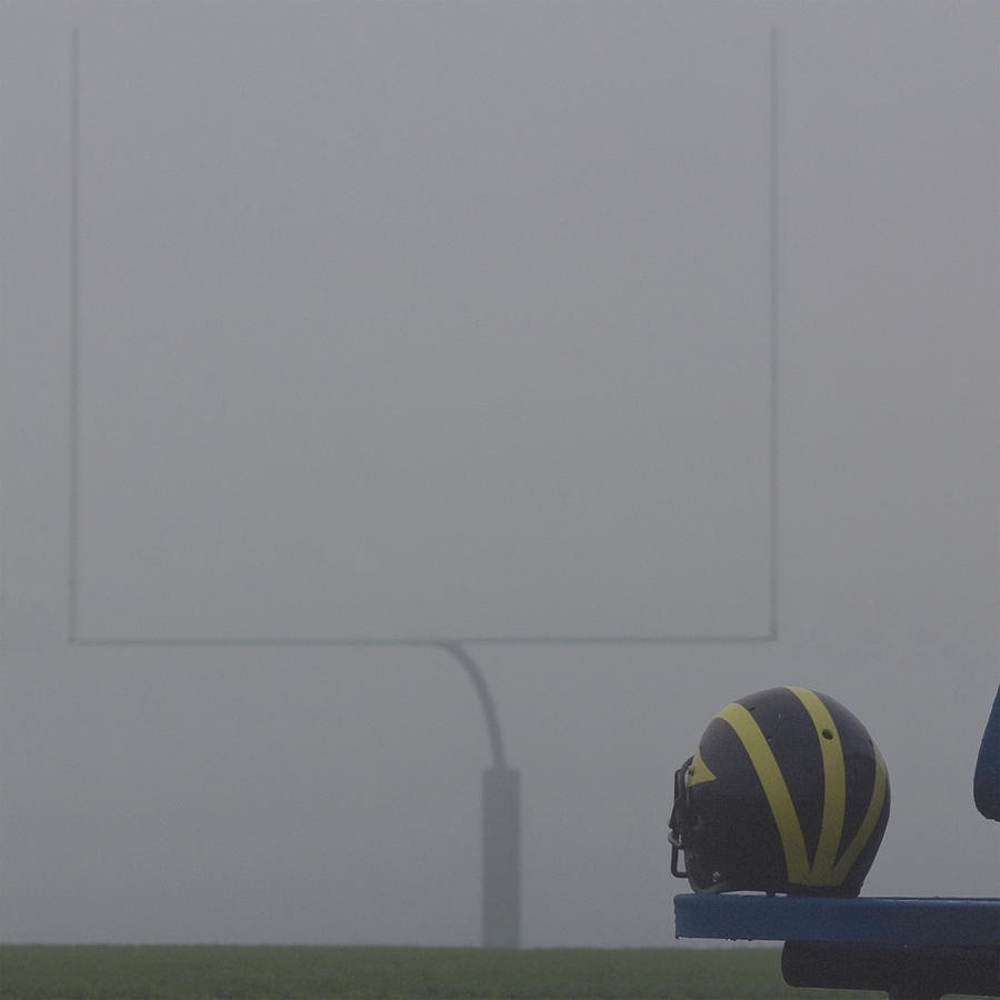Wolverine Helmet in Heavy Morning Fog by Michigan Helmet