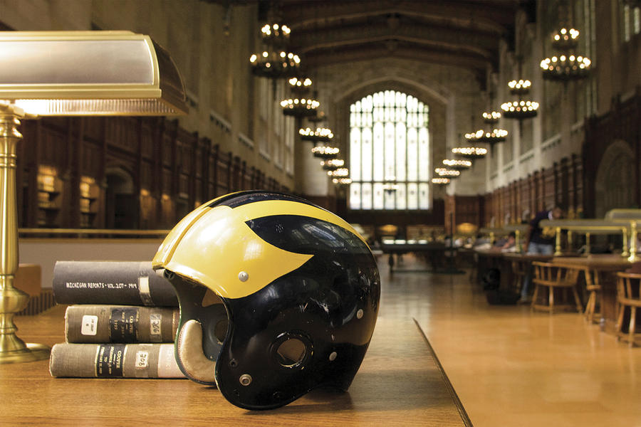 Wolverine Helmet in Law Library by Michigan Helmet