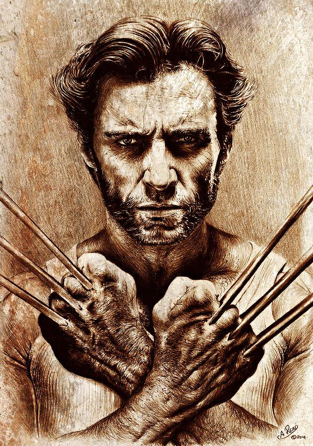 Hugh Jackman As Wolverine Sepia Mix Drawing