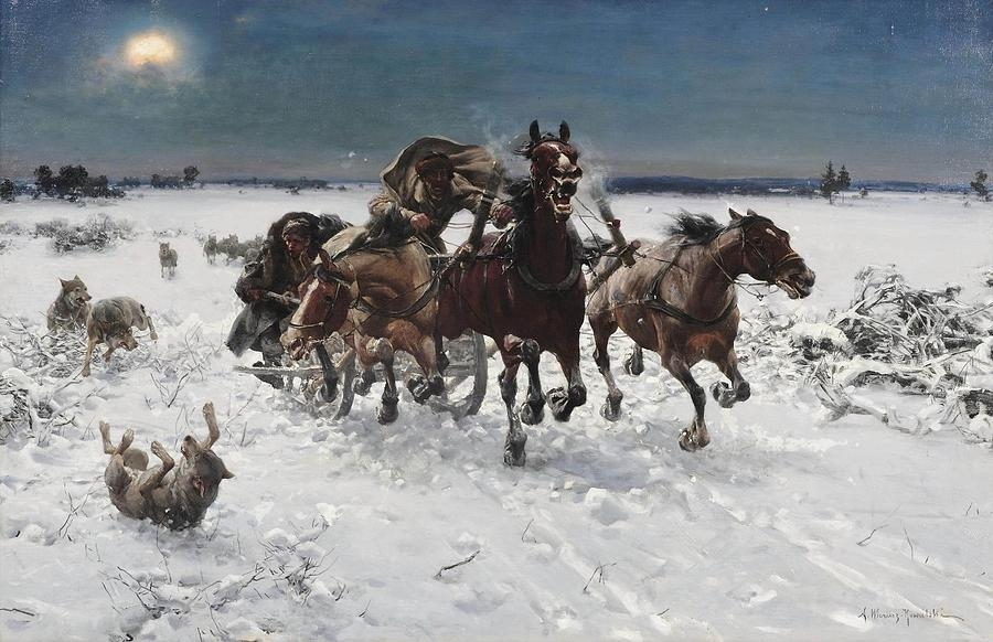 Winter Painting - Wolves In Pursuit By Alfred Wierusz-kowalski 1849-1915 by Alfred Wierusz-Kowalski