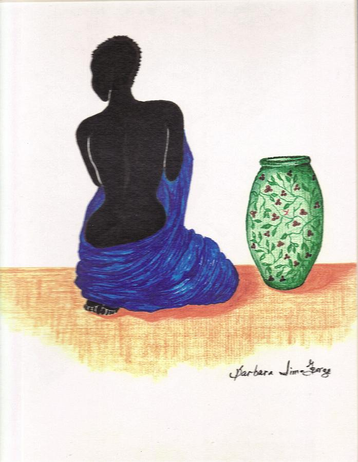 Woman And A Ginger Jar Drawing by Bee Jay