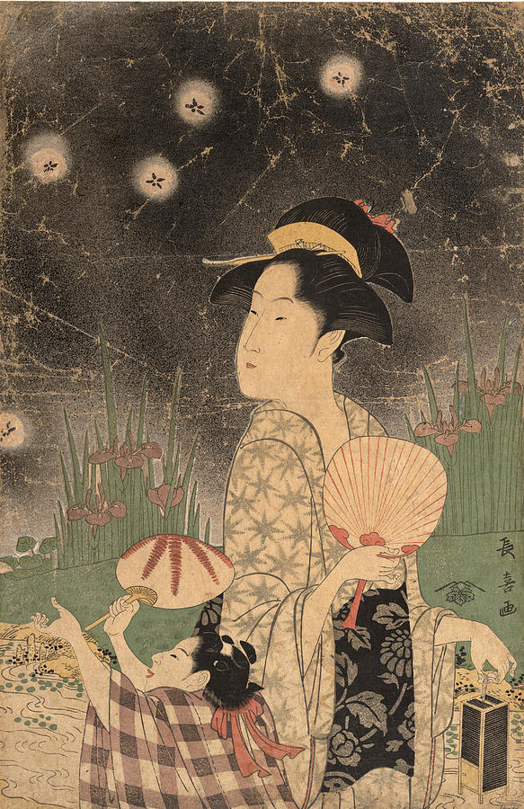 Woman And Child Catching Fireflies Drawing By Eishosai Choki