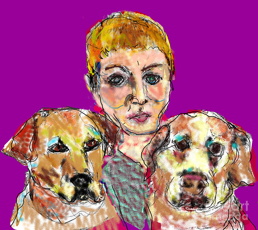Woman and Two Dogs by Joyce Goldin