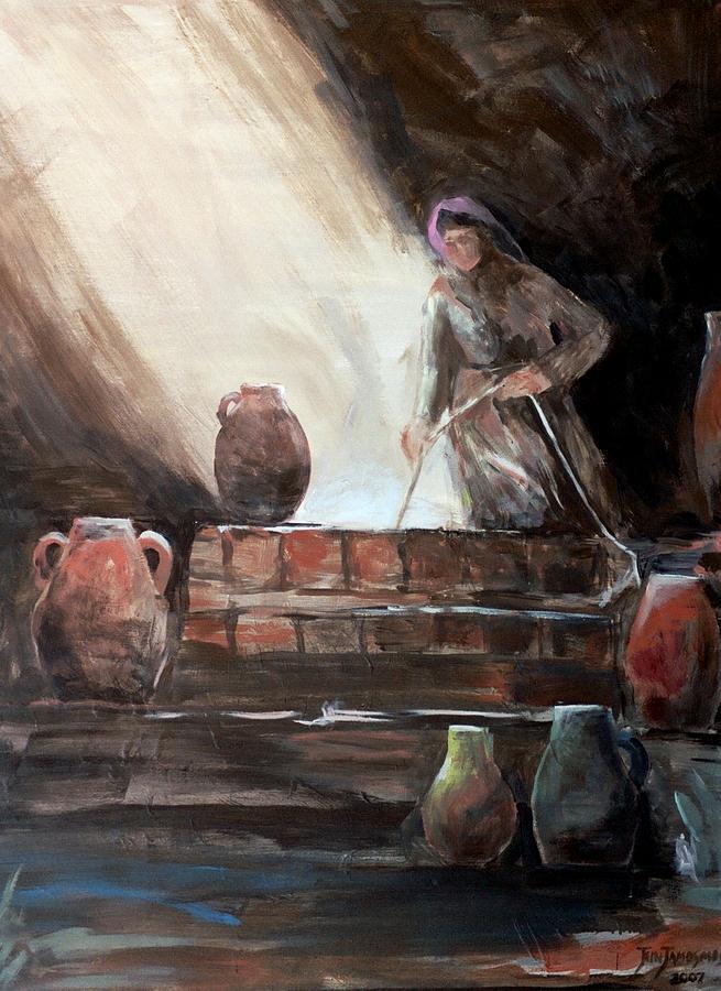 Woman Painting - Woman At The Well  by Jun Jamosmos