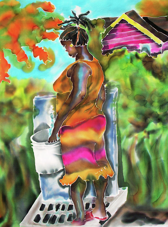 Black Woman Painting - Woman At The Well by Tiff