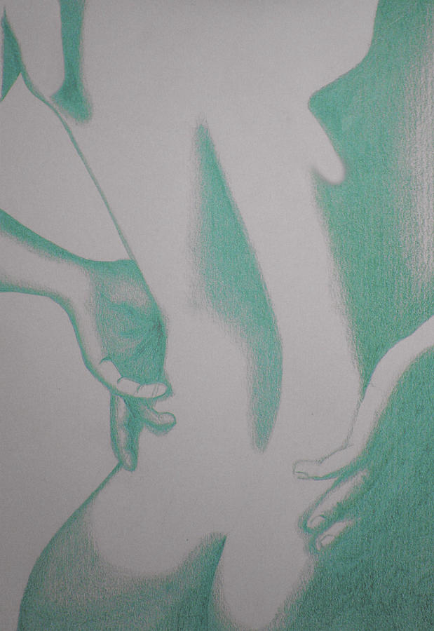Abstract Paintings Drawing - Woman Back Green by Fanny Diaz