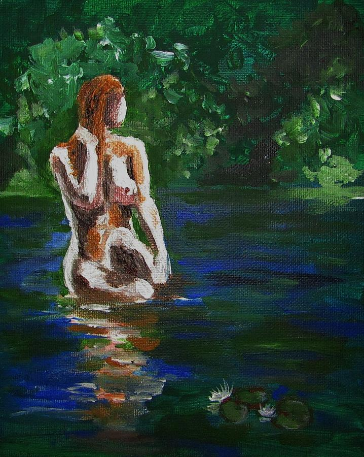 Woman Painting - Woman Bathing In Lake by Regina WARRINER