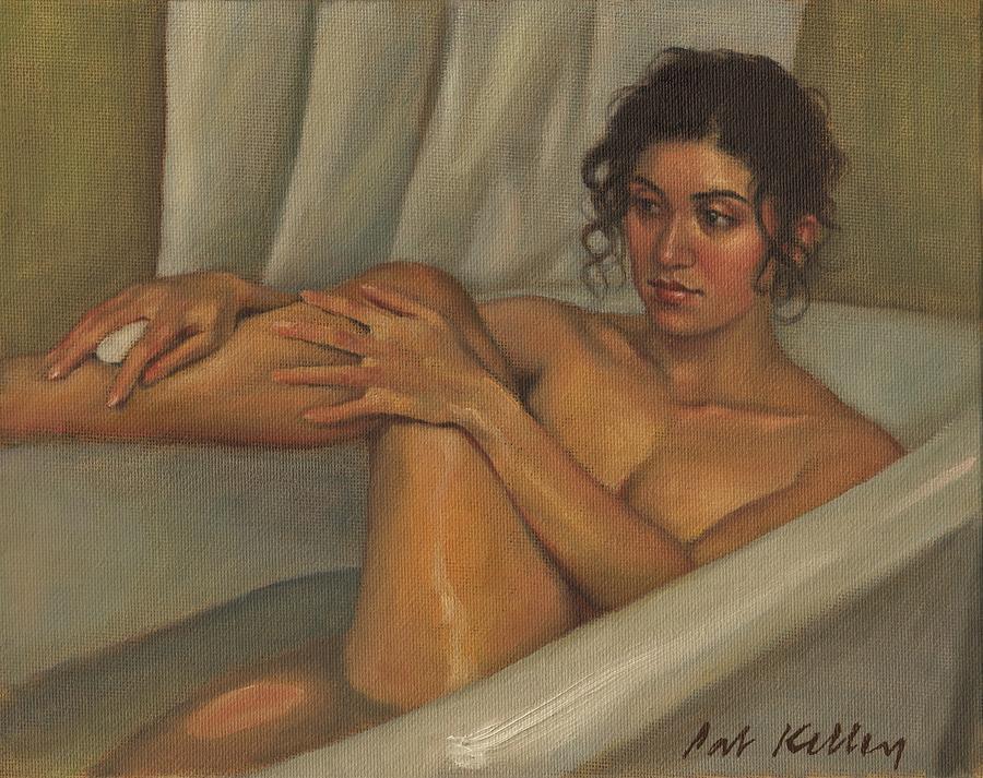 Woman Bathing Painting By Pat Kelley