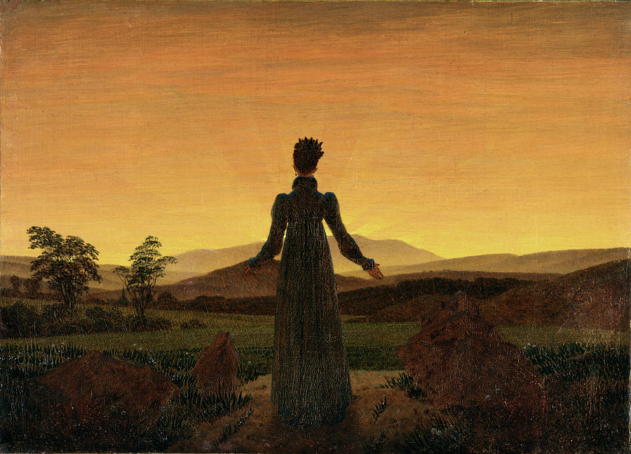 Girl Painting - Woman Before The Rising Sun Woman Before The Setting Sun1818-20  By Caspar David Friedrich 1774 by Caspar David Friedrich
