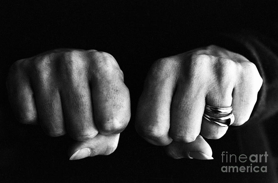 Adult Photograph - Woman Clenching Two Hands Into Fists In A Fit Of Aggression by Sami Sarkis
