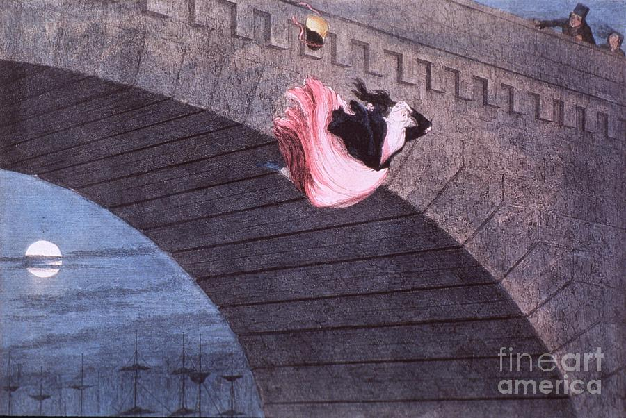 Evening Painting - Woman Committing Suicide By Jumping Off Of A Bridge by MotionAge Designs