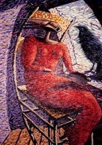 Red Dress Painting - Woman Conversing With A Crow by Che Baraka