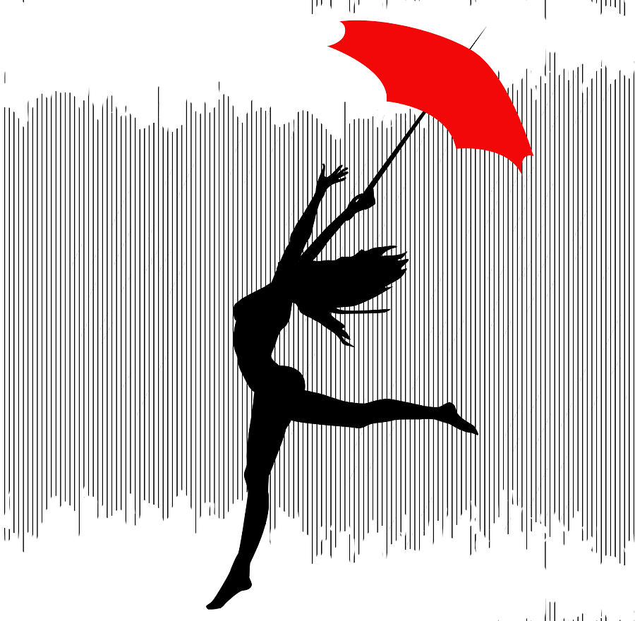 Woman Dancing In The Rain With Red Umbrella Digital Art By
