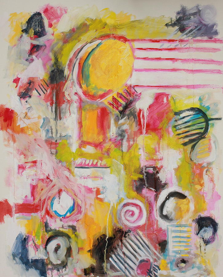 Abstract Painting - Woman Doing Her Hair and Nails by Michael Henderson