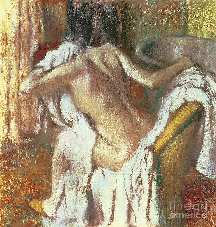 Edgar Pastel - Woman Drying Herself by Edgar Degas