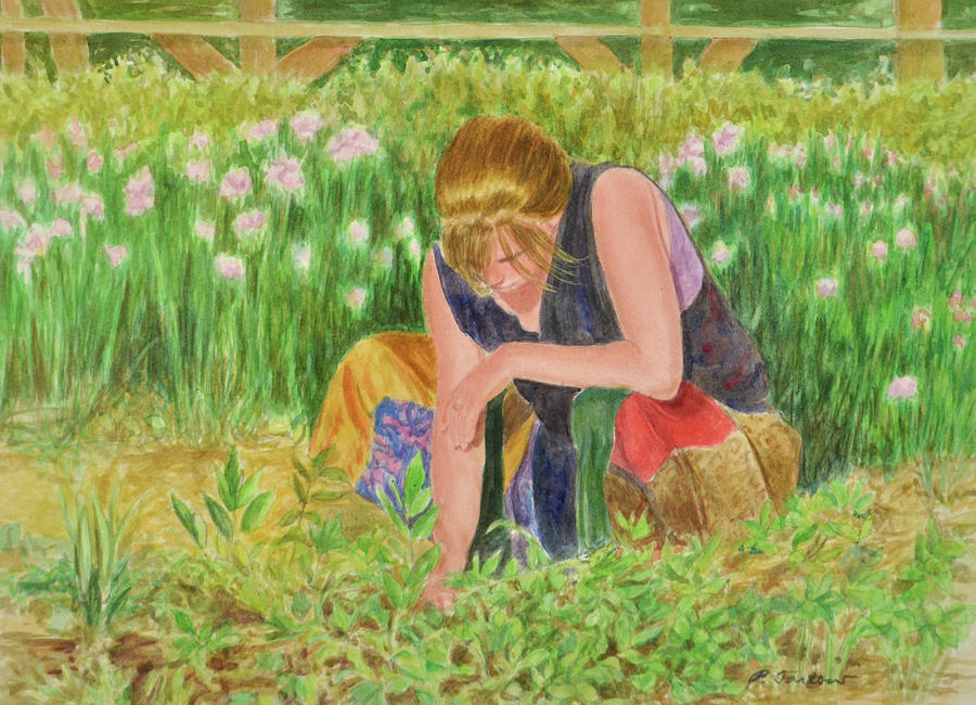 figurative painting woman gardening by phyllis tarlow