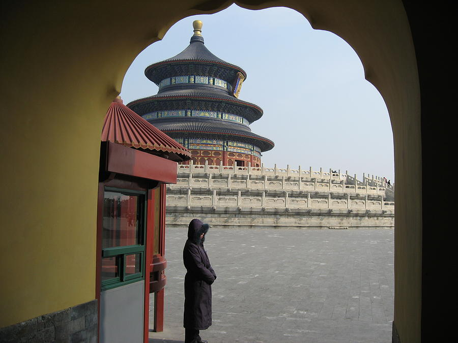 China Photograph - Woman Guarding The Temple Of Heaven by James Lukashenko