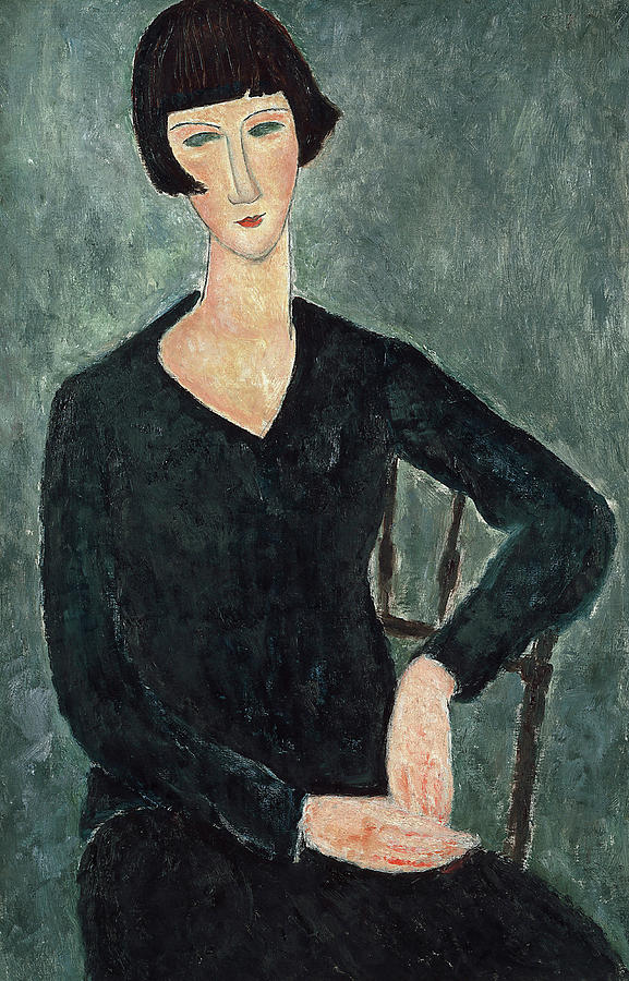 Blue Dress Painting - Woman In A Blue Dress Seated by Amedeo Modigliani