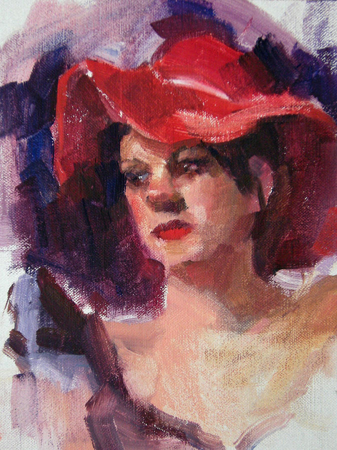 Portrait Painting - Woman In A Floppy Red Hat by Merle Keller