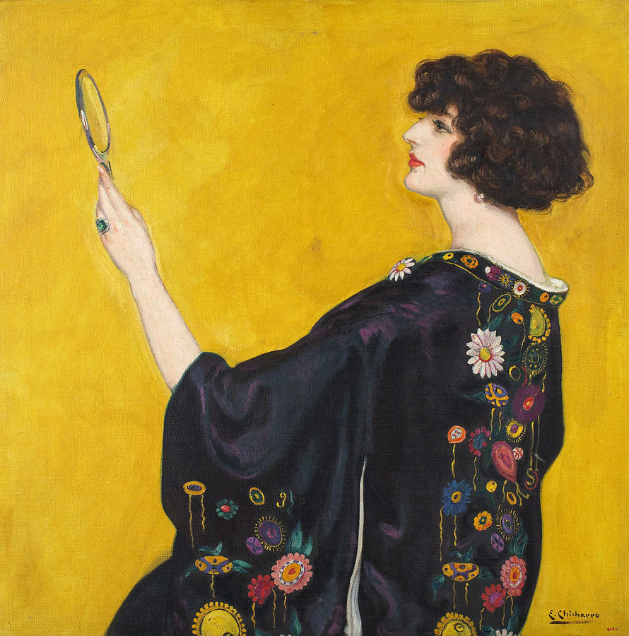 Woman In A Kimono In Profile Painting by Eduardo Chicharro