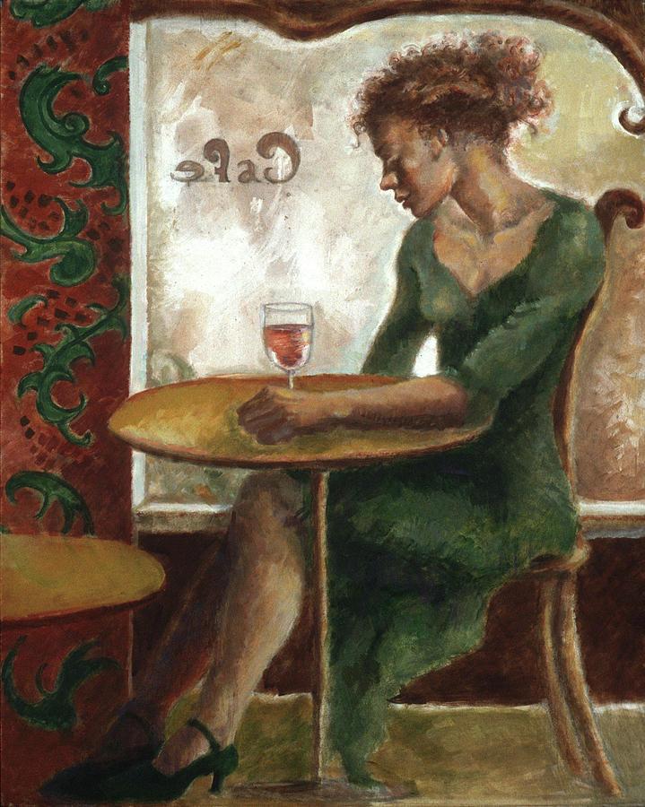 Woman in a Paris Cafe by Ellen Dreibelbis