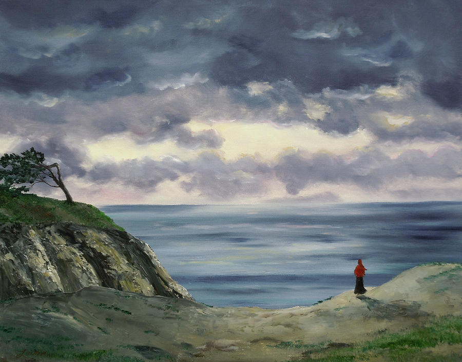 California Painting - Woman In A Red Shawl by Laura Iverson