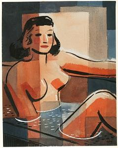 Woman In Bath Painting by Forrest  Hibbits