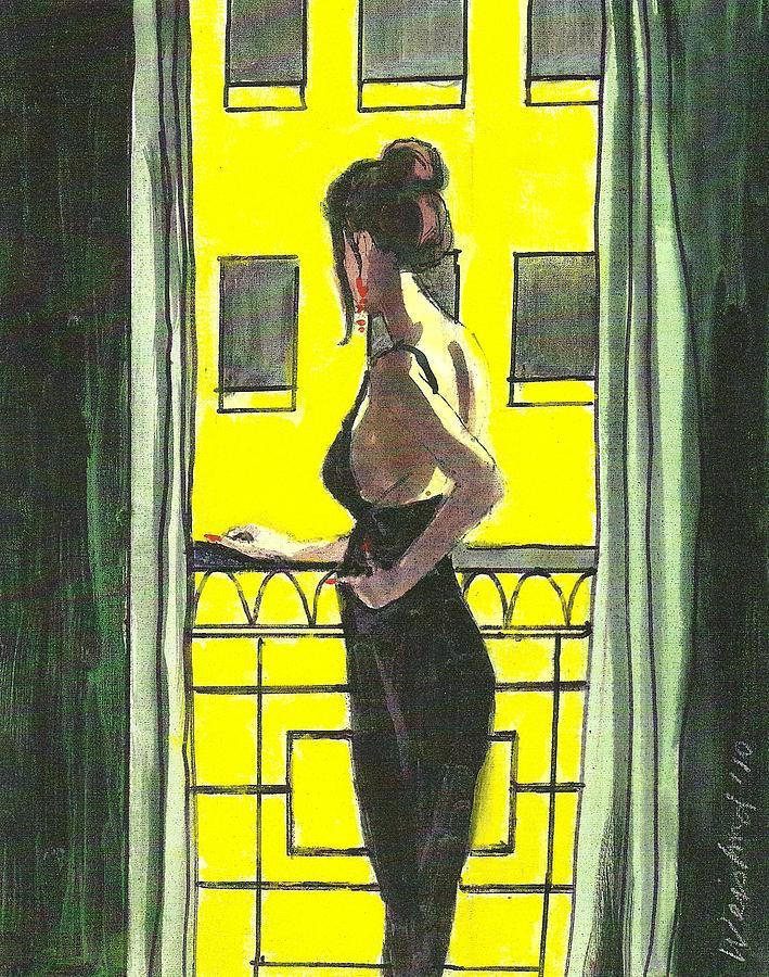 Female Painting - Woman In Black Dress On Balcony by Harry  Weisburd