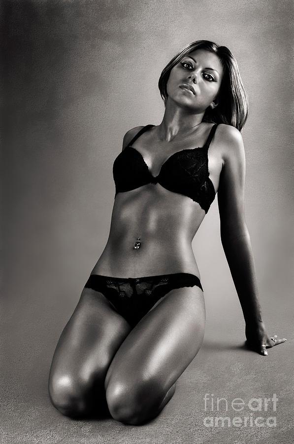 Woman Photograph - Woman In Black Lingerie by Oleksiy Maksymenko