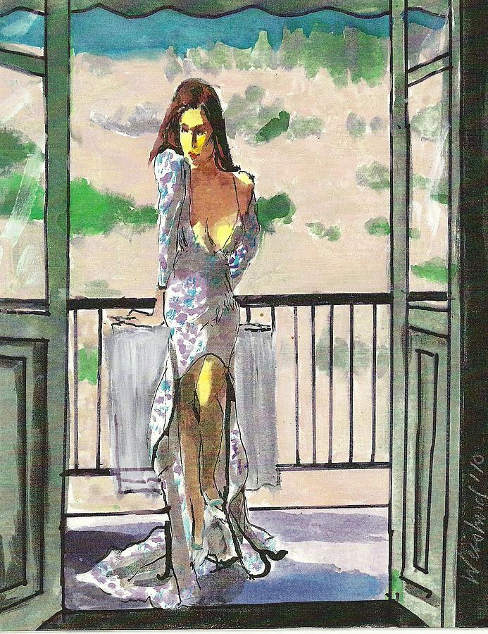 Landscape Painting - Woman in Blue Print Dress on Balcony by Harry  Weisburd