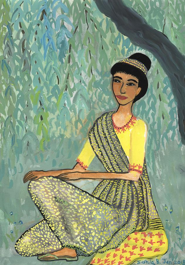 Indian Woman Painting - Woman in grey and yellow sari under tree by Sushila Burgess