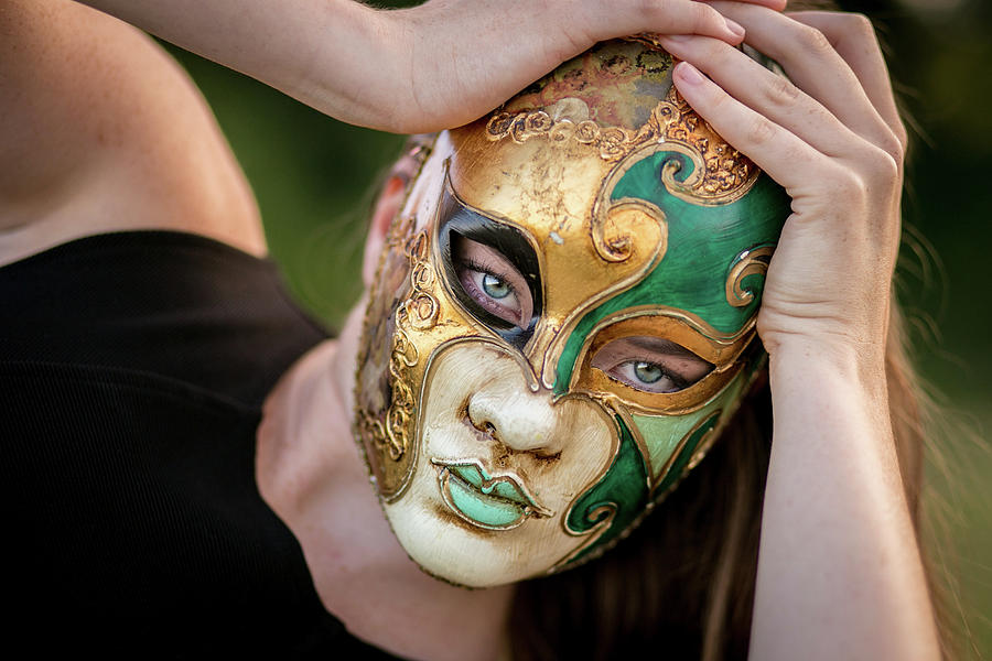 Girl Photograph - Woman In Mask by Lisa Lemmons-Powers