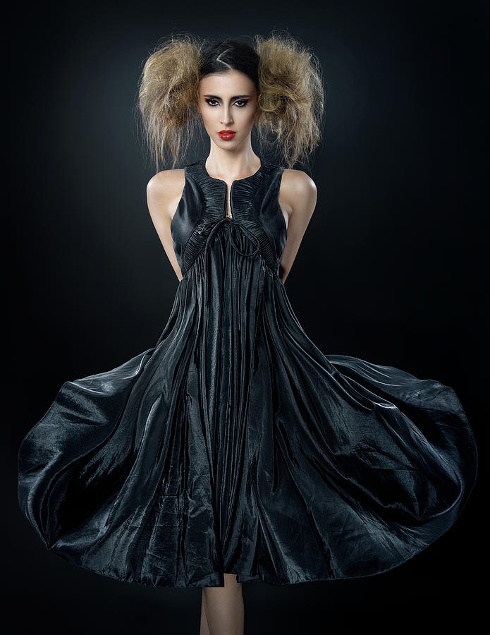 3b98557d8da Woman In Messy Tease Updo In Black Dress Photograph By Erich