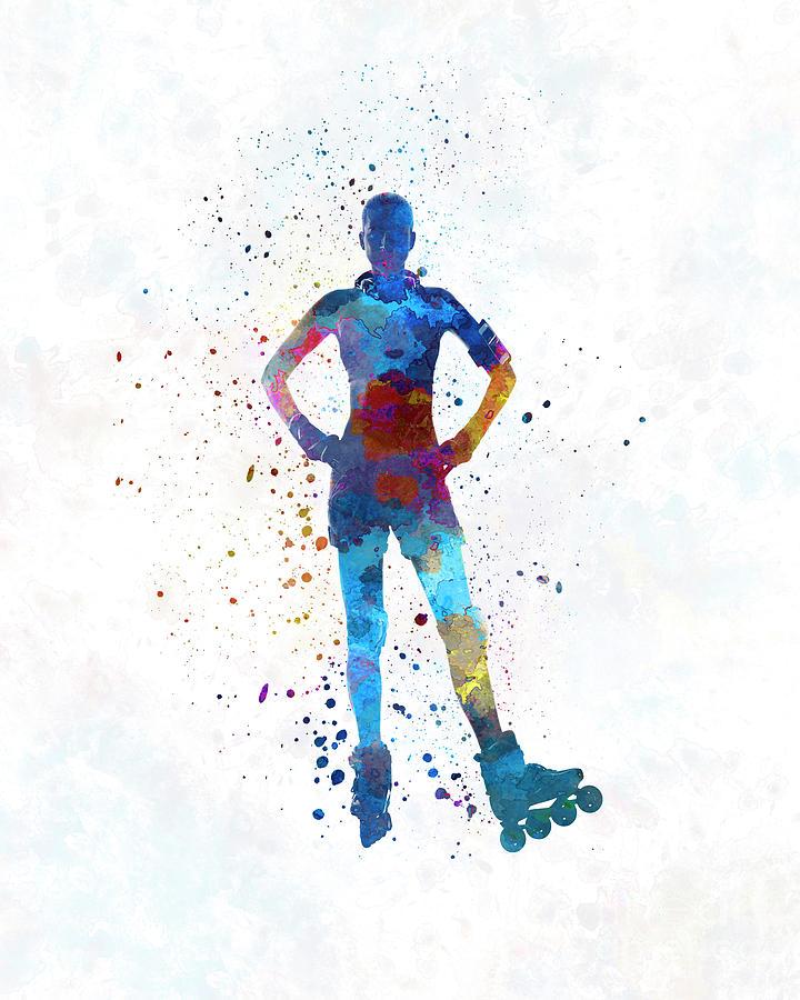 Woman In Roller Skates 02 In Watercolor