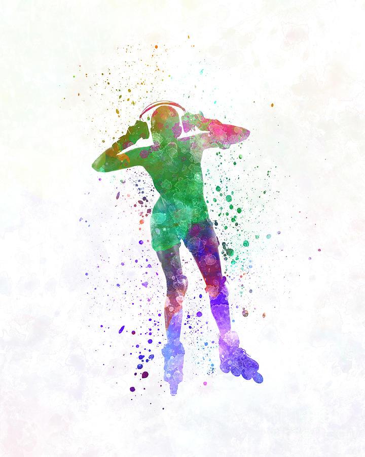 Woman In Roller Skates 04 In Watercolor